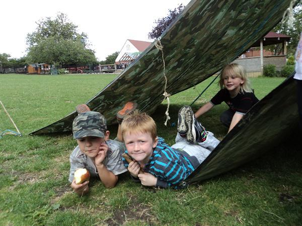 Some of Reception class in their den!