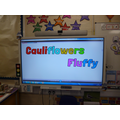 We listened and danced to the song 'Cauliflowers Fluffy'.
