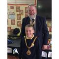 Joseph with the Mayor of Macclesfield, David Edwardes
