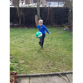Sam (4L) did 100 times around the lawn with a football.