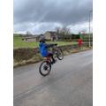 Josh (6F) did 100 wheelies on his bike.