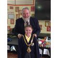 Isabella with the Mayor of Macclesfield, David Edwardes