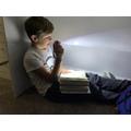 Ollie reading for pleasure!