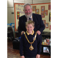 Joe with the Mayor of Macclesfield, David Edwardes