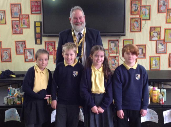 Roxy, Joe, Leah and Olly with the Mayor of Macclesfield, David Edwardes