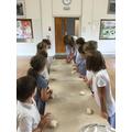 Following a recipe to make bread.