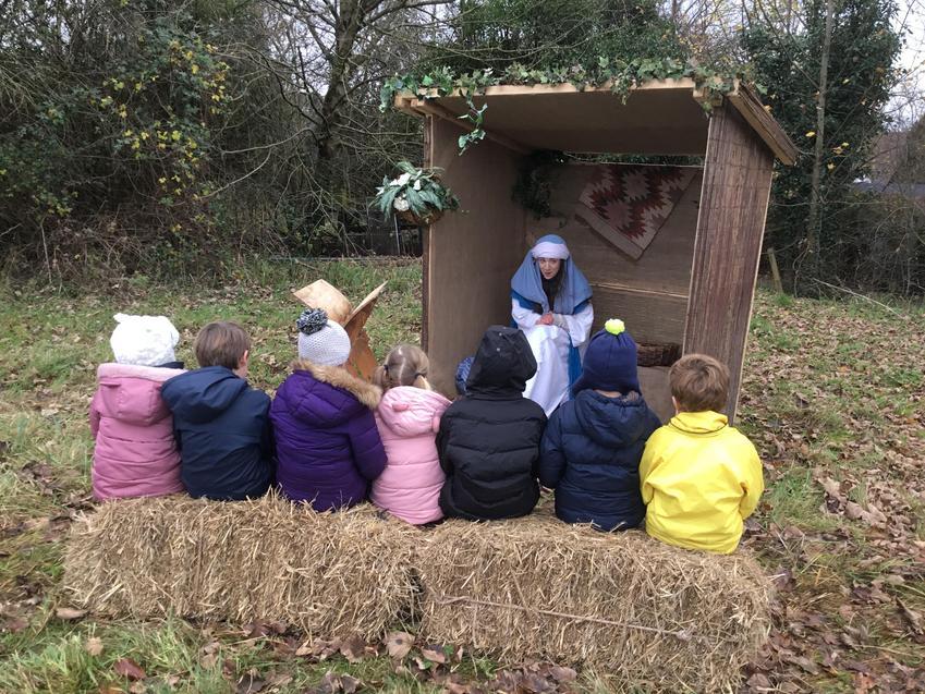 Wintershall Workshop. The children listen to Mary.