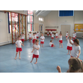 Our first PE session in the hall