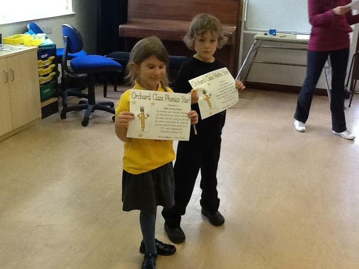 Class award winners for phonics and Maths.