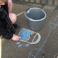 """Draw a bucket of water to wash the chalk away!"""