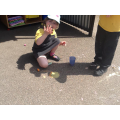 Colour mixing with paint-like chalk.