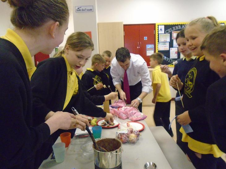 Mr Kelwick treated the Barn Owls to a fondue party