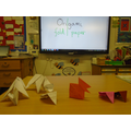 Today we did origami - paper folding