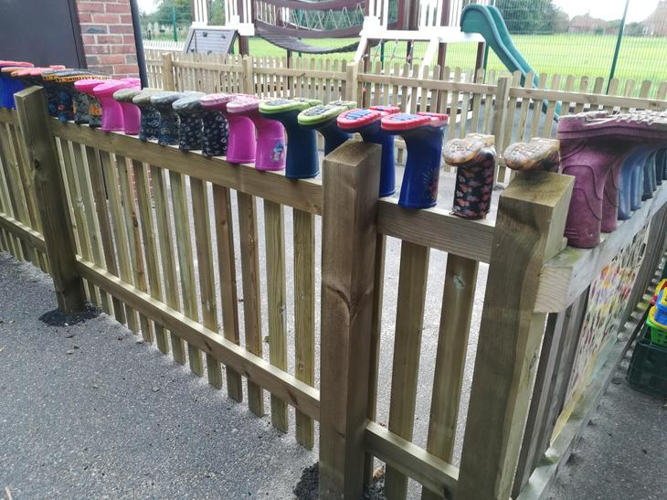 Wellies ready and waiting to be worn!