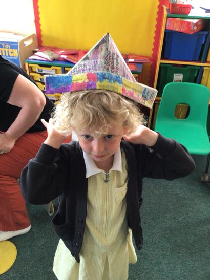 Recycled newspaper pirate hat!