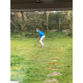 Arthur (Willows) playing Hockey in his garden..jpg
