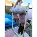 Rosie (Willow) and her sister on her new Gymnastics bar.  Happy 7th Birthday, Rosie..jpg