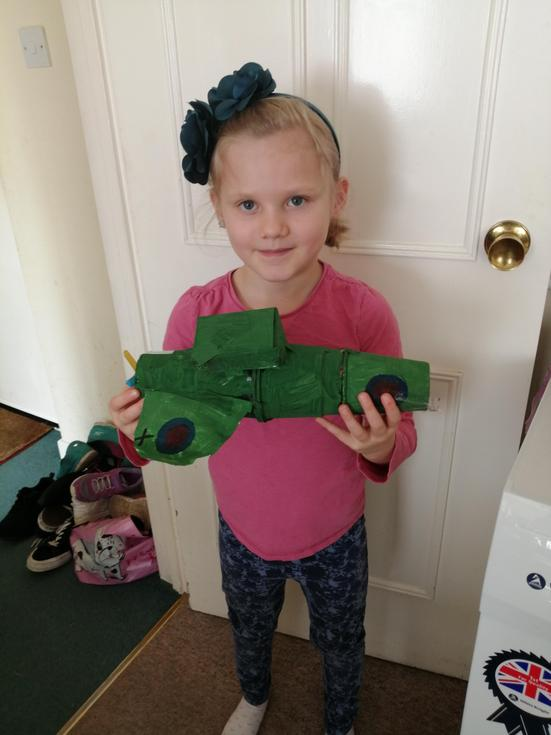 Rosie in Beech Class with her model Spitfire.jpg