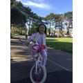 Bei  Bei (Willow) riding her bike.jpg