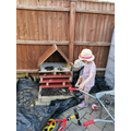 Eloise (Kingfihers) with her Bug Hotel.