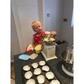 Oscar (Swallows) busy baking.