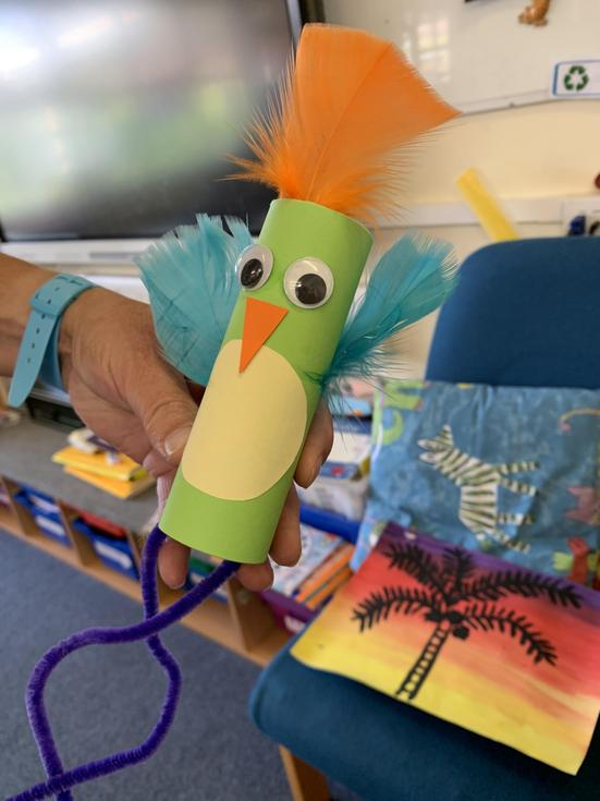 Children made parrots for pirates day