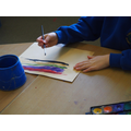 Using watercolours to create our backgrounds