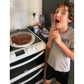Riley, Yr 4, Chocolate Project, chocolate & strawberry marble cake