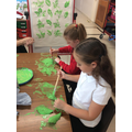 Painting leaves for printing.
