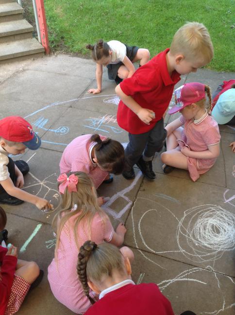 Making our own Mandala patterns.