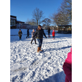Mrs Collinson joining our snowball fight