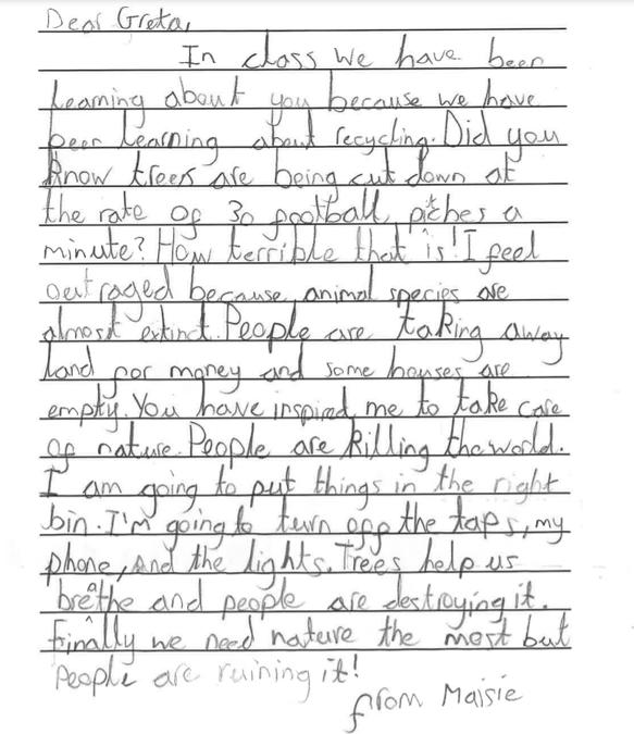 A letter written to Greta Thunberg