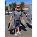 Tyres, ready to be transformed into colourful planters donated by Cotgrave Service Station