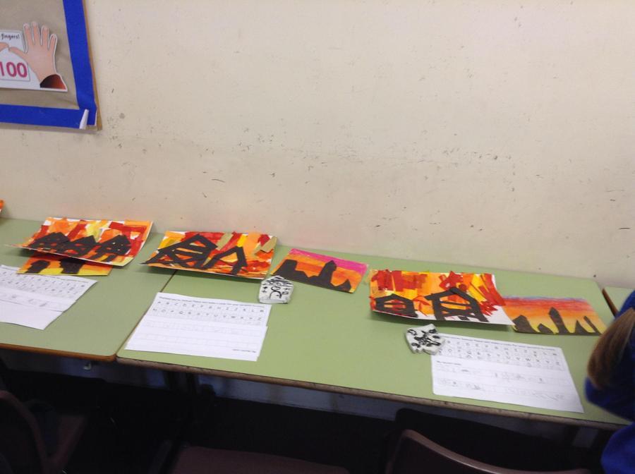 Fire themed art work.