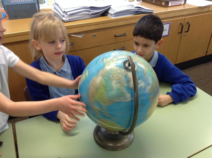 Finding the continents on the globe