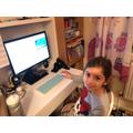 Sofia busy coding on Scratch!