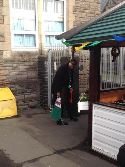 Mrs Morgan-Bakarr...hiding from the water!
