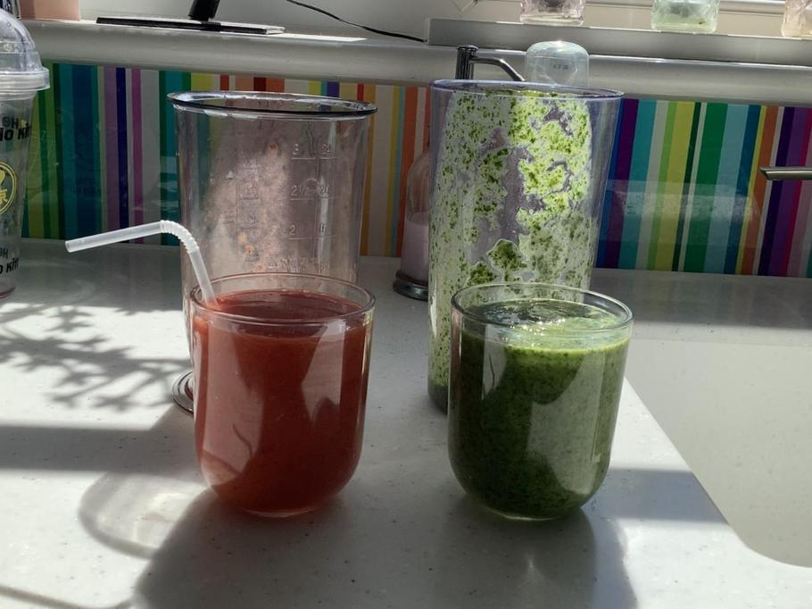 Erica's smoothies - one wasn't quite so yummy!