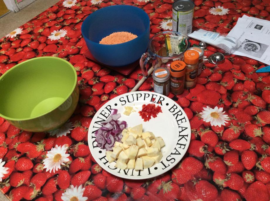 Preparing our vegetarian dahl.