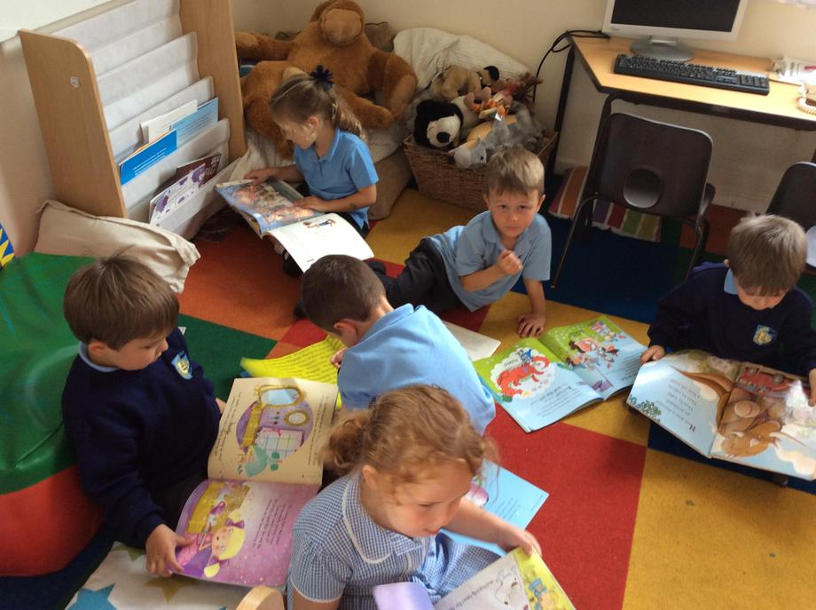 Quiet reading time after lunch