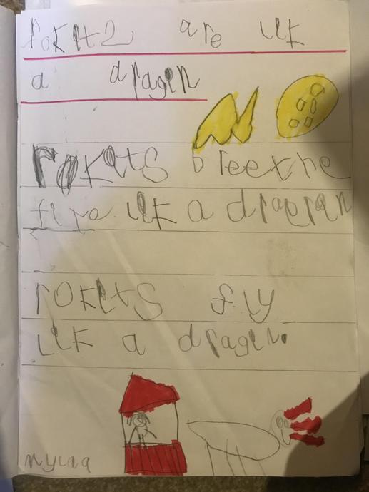 'A rocket is like a dragon' - A Poem by Myla
