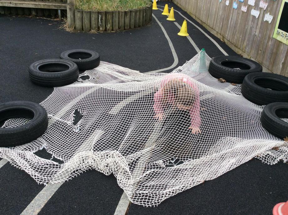 Through the net..