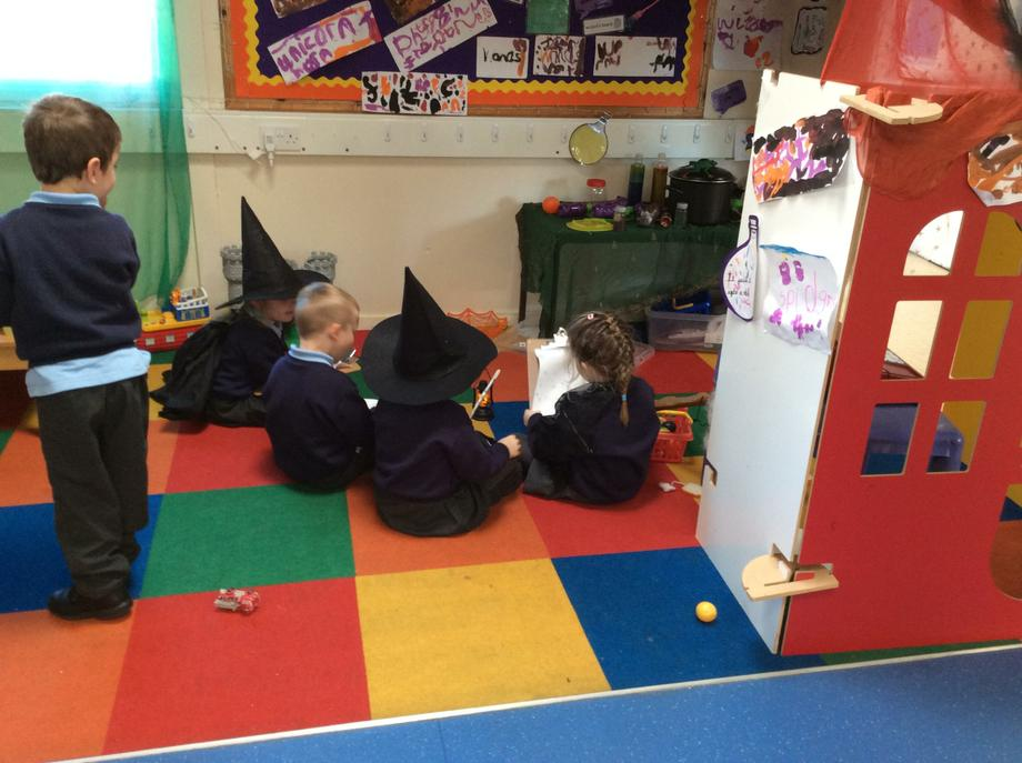Witches and Wizards discussing spells