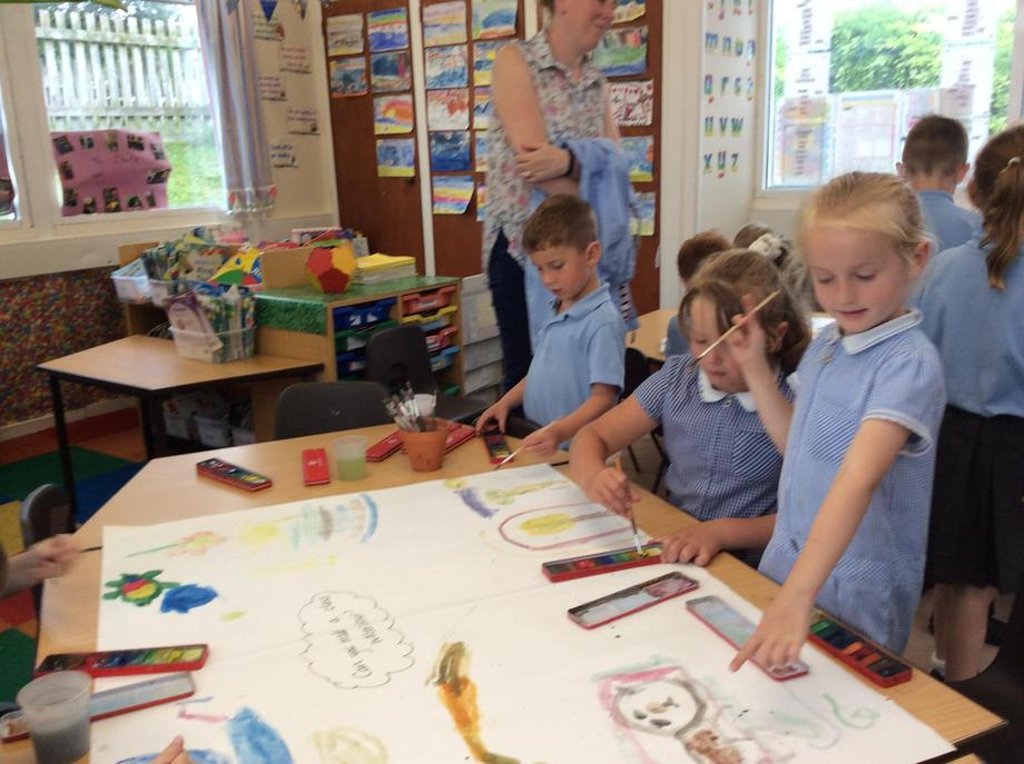 Demonstrating our watercolour skills.