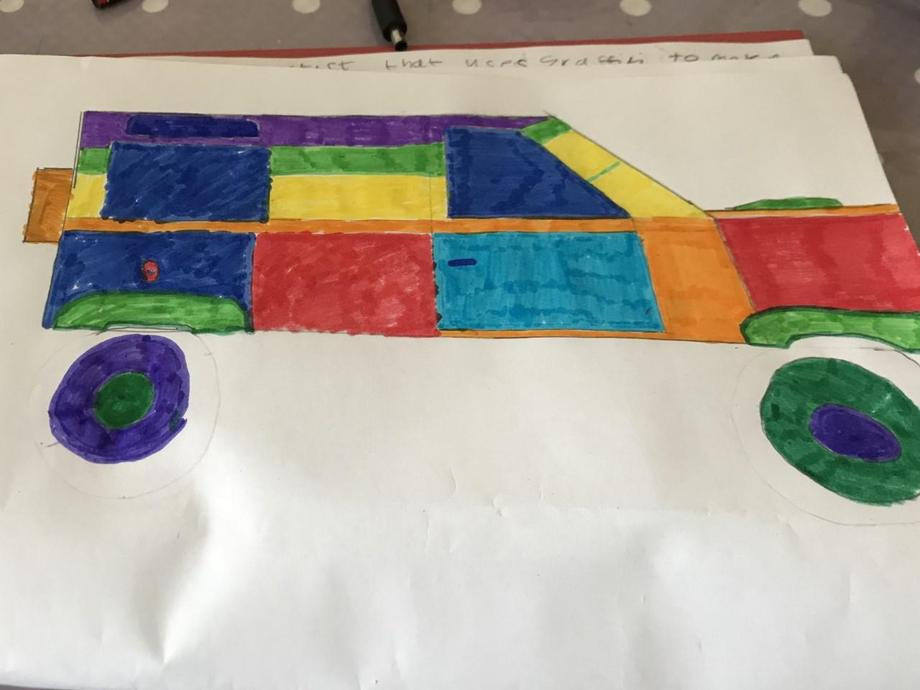 A rainbow Landrover! Great work Jack G.