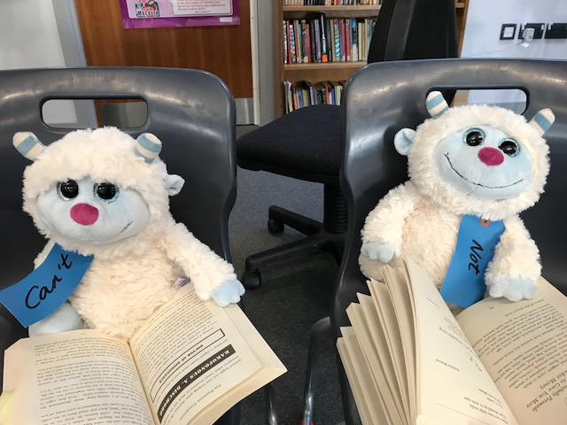Can't Yeti & Not Yeti enjoying some poetry and The Phantom Tollbooth!