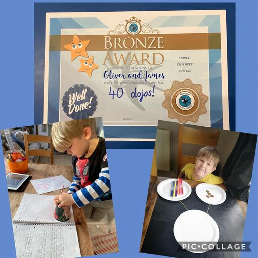 Well done to those children who have achieved their Bronze certificate for 40 Dojos.