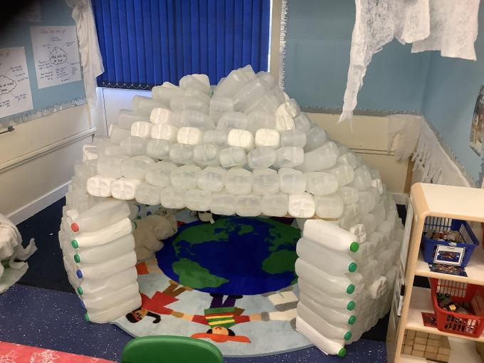 We made a giant igloo out of milk bottles!