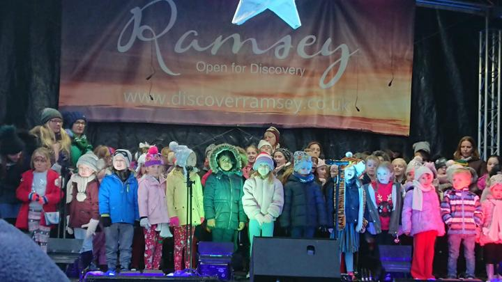 Carol singing at the Christmas lights switch on