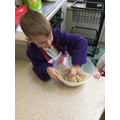 Mixing and stirring the biscuit mixture